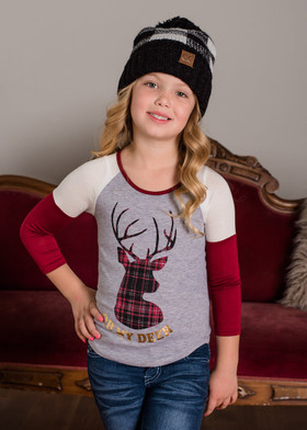 "Girls ""Oh My Deer"" Burgundy  3/4 Sleeve Top"