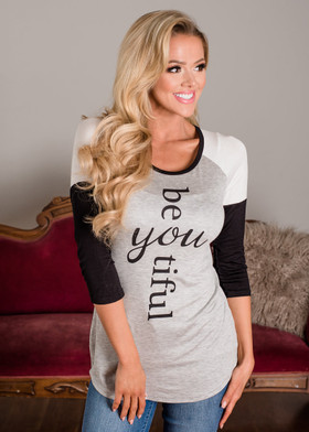 """Mommy """"Be YOUtiful"""" Black and Gray 3/4 Sleeve Top"""