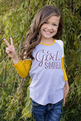 """Girls """"Girl Squad""""  3/4 Sleeve Color Block Mustard Top"""