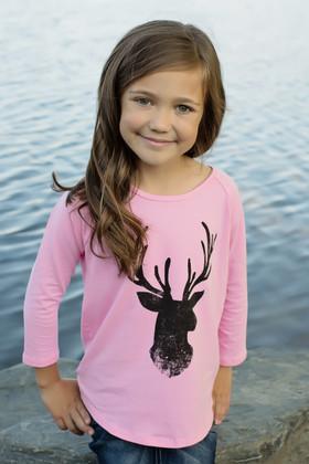 Girls Pink and Black Deer Long Sleeve Top