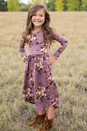 Girls Now or Never Floral Midi Dress Purple