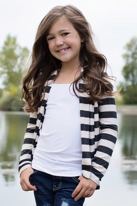 Girls Striped Charcoal and Ivory Cardigan with Elbow Patches