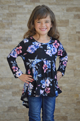 Girls Blue and Pink Floral High Low Ruffle Top Black