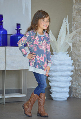Girls Go To Floral Sweater Navy with Gray Trim