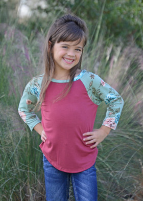 Girls Long Sleeve Red Top with Sage Floral Sleeves