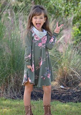 Girls Olive Floral Cowl Neck Dress