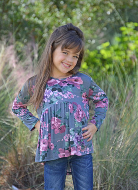 Girls Floral High Low Ruffle Top Gray