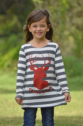 """Girls Charcoal Striped Red """"Oh My Deer"""" Long Sleeve Top"""