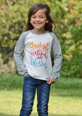 """Girls """"Thankful, Grateful and Blessed"""" Long Sleeve Baseball Top"""