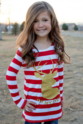 "Girls Red Striped Gold ""Oh My Deer"" Long Sleeve Top"