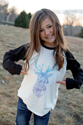 "Girls ""Be Wild and Free"" Long Sleeve Baseball Top"