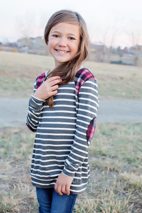 Girls Striped Charcoal and Red Plaid Long Sleeve Top