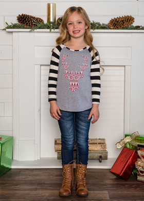Girls Black Striped Long Sleeve Red Nordic Deer