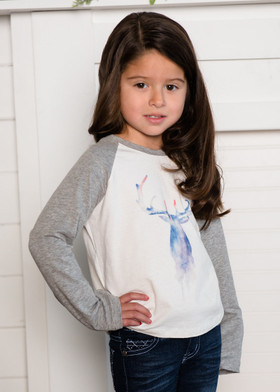Girls Watercolor Deer Long Sleeve Baseball Top