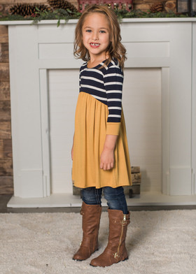 Girls Stripes and Ruffles Top Navy/Mustard