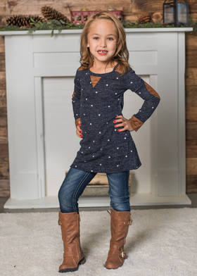 Girls Navy Polka Dot Long Sleeve Top w/ Elbow Patches