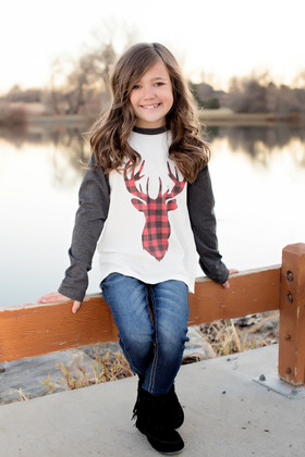 Girls Checkered Reindeer Baseball Top-Charcoal