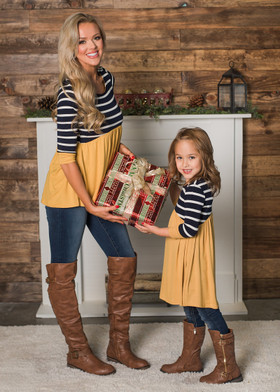 Mommy Stripes and Ruffles Top Navy/Mustard