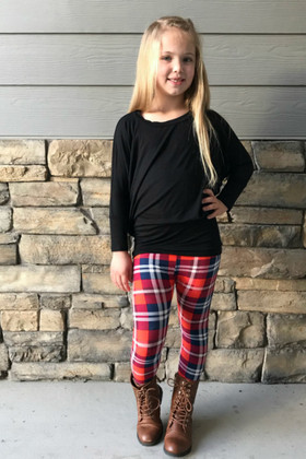 Girls Winter Ready Red and Navy Plaid Leggings