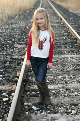 Girls Long Sleeve Red Baseball Top with Plaid Reindeer