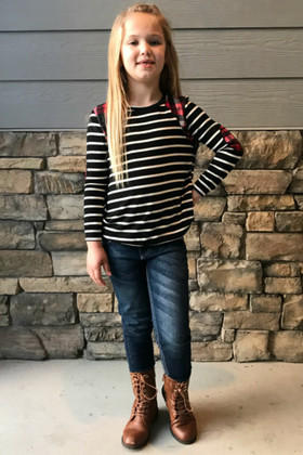 Girls Striped Black and Red Plaid Long Sleeve Top
