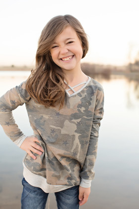 Girls Criss Cross Camo and Stars Tunic Sweatshirt