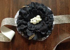 Black Floral Sash
