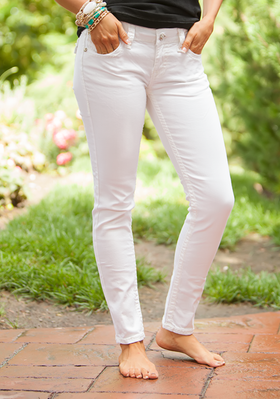 LA Idol Stitched White Skinny Jeans CLEARANCE