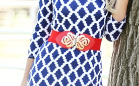 Mommy Red Floral Buckle Belt CLEARANCE