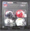 AFC West Division (4pc) Revolution Style Pocket Pro NFL Helmet Set