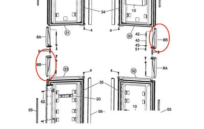 Dometic Refrigerator Door Handle (LL & UR) 3851057012 -