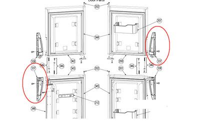 Dometic Refrigerator Door Handle (Bottom LH/Top RH) 3851299028 -