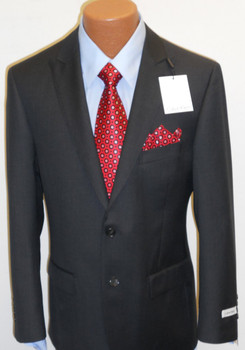 Men's Calvin Klein Pinstripe Suit - Dark Charcoal