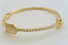 Rhinestone Embellished Key Bangle Bracelet Gold Tone