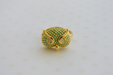 Green Owl Charm Midi Ring with Rhinestone Eyes
