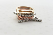 Set of 4 Stackable Rings in Gold, Rose gold and Silver Tones Embellished with Rhinestones