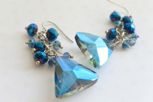 Royal Blue Swarovski Elements Triangle Earrings
