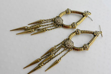 Cleopatra Earrings Antique Gold Finish, whith Rhinestone Cluster Center