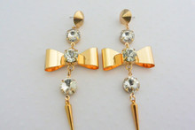 Punk Princess Earrings Gold Tone Bows with Rhinestones and Spikes