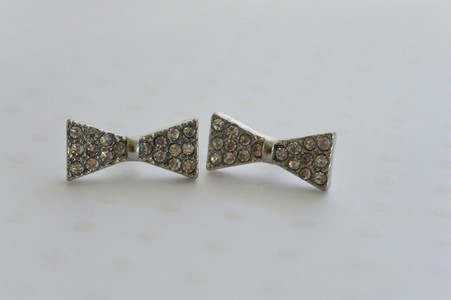 Silver Tone Bow Tie Stud  Earrings