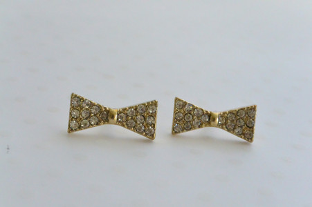 Bow Tie Stud Earrings with Sparkling Rhinestones Gold Tone