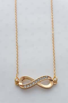 Infinity Charm Necklace Gold Tone