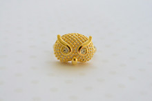 White Owl Charm Midi Ring with Rhinestone Eyes