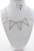 Aztec Necklace and Earrings Set Silver Tone
