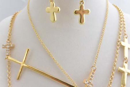 Cross Long Necklace Gold Tone