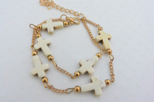 Cross Double Layered Bracelet Off White