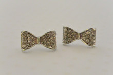Sweetheart Bow Earrings Silver Tone