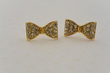 Sweetheart Bow Earrings Gold Tone
