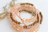 Swarovski Crystals Elements Wrap Around Bracelet and Earrings in Champagne