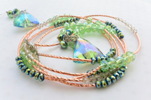 Emerald Swarovski Crystals Elements Wrap Around Bracelet in Rose Gold and Matching Earrings Set